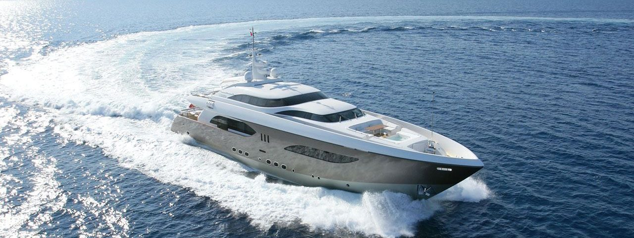 megayacht cruising offshore