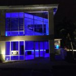 office and warehouse exterior lit up 2
